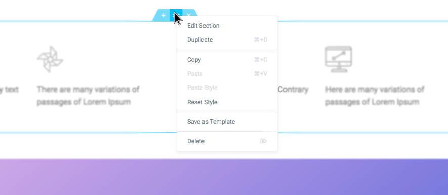Elementor page builder column section edit